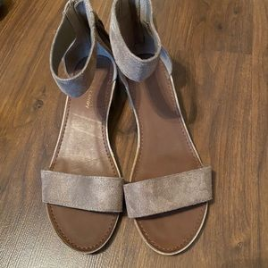 Suede Brown Tassel Sandals